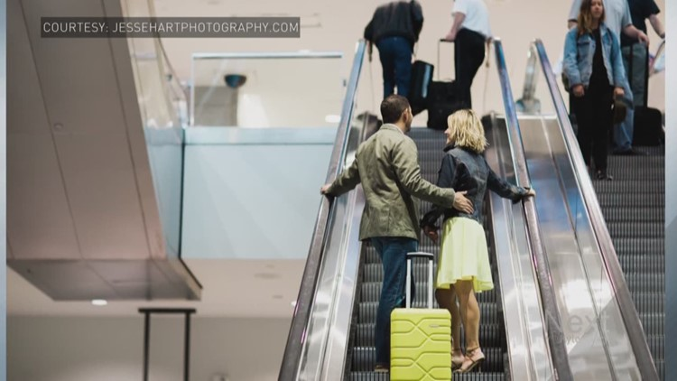 Couple spends so much time at DIA, they have their engagement photos there