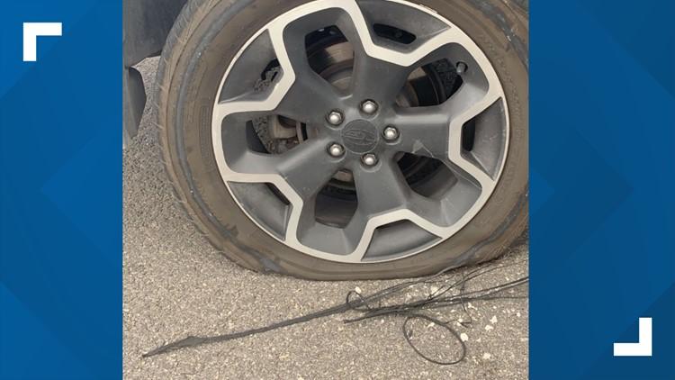 Flat tire on I-35