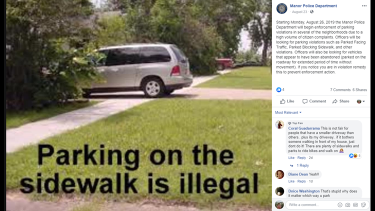 Manor police cracking down on bad parking | kcentv com