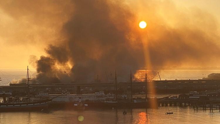 Smoke from Fisherman's Wharf fire