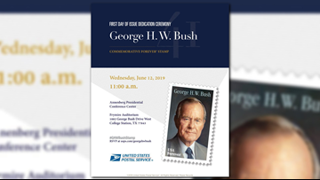 USPS unveils commemorative George H.W. Bush stamp in College Station