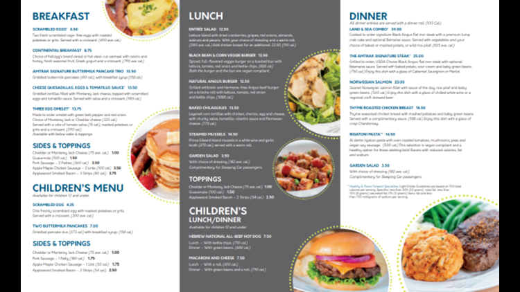 A sample Amtrak dining car menu.
