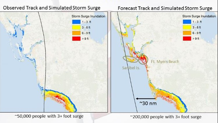 Hurricane Irma actual vs. forecast storm surge