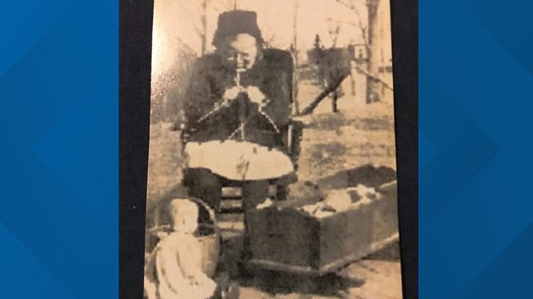 Dottie Brown knitting in 1919 in Nova Scotia when she was 4-years-old