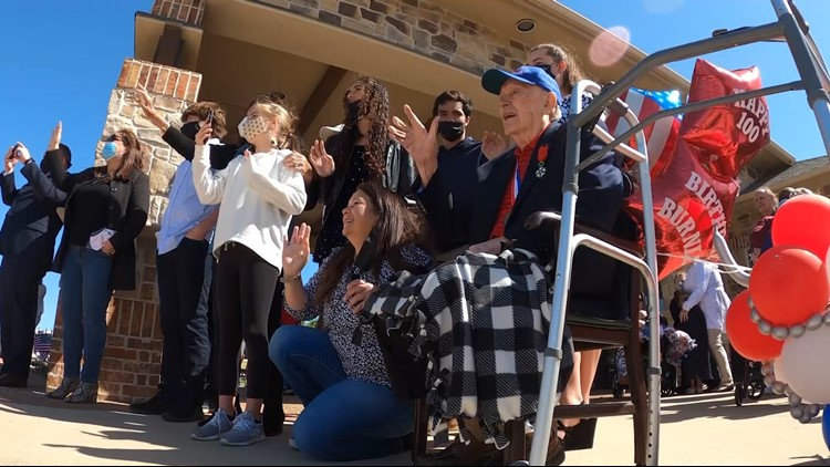 Family, community celebrates WWII veteran's 100th birthday with 100-vehicle parade in Frisco