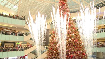 Back-flipping Santa and fireworks accompany tree lighting at Galleria Dallas