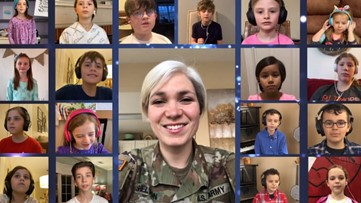 US Soldier leads group of kids in virtual sing-along of Do-Re-Mi from the 'Sound of Music' to lift their spirits