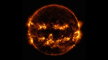 This old NASA photo of the sun looking like a flaming jack-o'-lantern is perfect for Halloween week