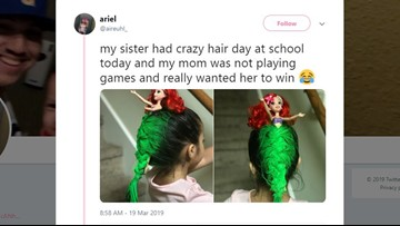 Girl's 'Little Mermaid' Ariel hair wins 'Crazy Hair Day' at school
