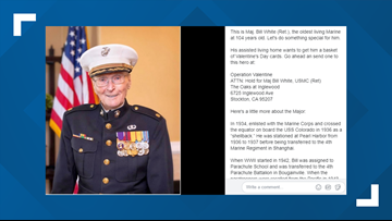 Valentines for a veteran: 104-year-old Marine collecting cards