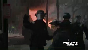 Limo set on fire near protests on K Street