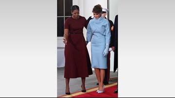 Melania Trump debuts sky blue Ralph Lauren Inaugural outfit...and an updo!