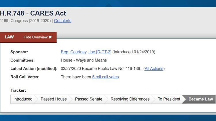CARES Act screenshot