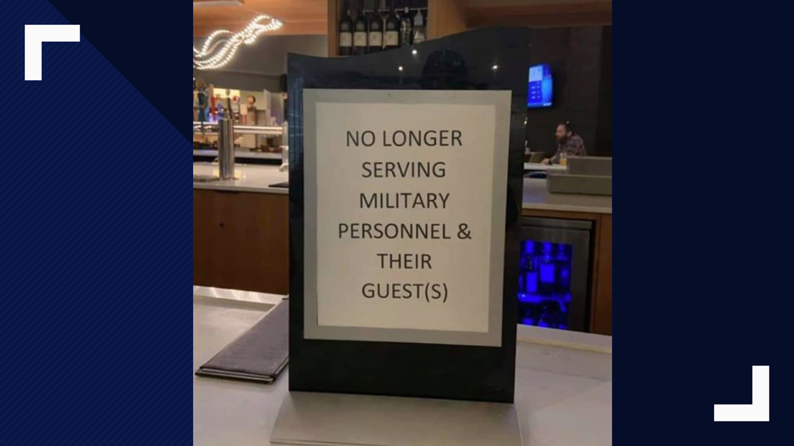 VERIFY: Yes, a DoubleTree Hotel displayed sign denying service to military members